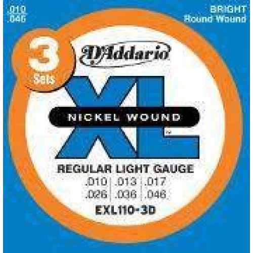 D'Addario  Electric guitar strings EXL110 3D 10-46 multi pack